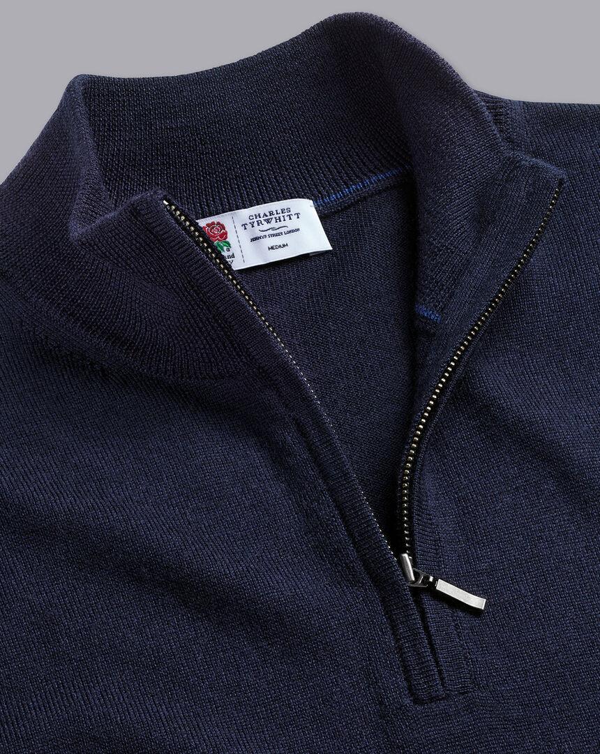 England Rugby Red Rose Merino Zip Neck Sweater  - Navy