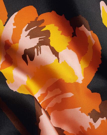 Abstract Floral Print Pocket Square - Navy & Orange