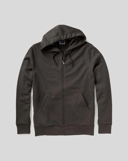 Jersey-Hoodie mit Reißverschluss - Anthrazit