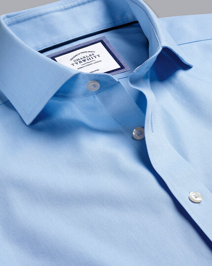 Spread Collar Non-Iron Regent Weave Shirt - Sky