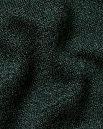 Cashmere Zip Neck Jumper - Forest Green