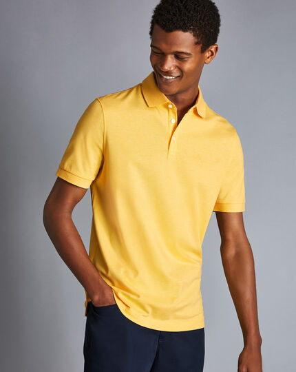 Tyrwhitt Pique Polo - Light Yellow Marl