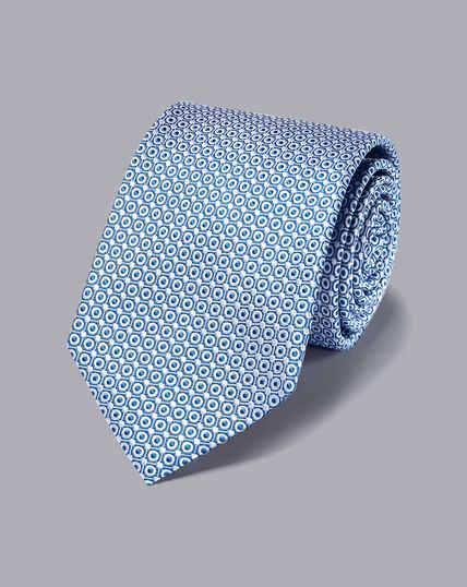 Stain Resistant Silk Tie - Royal Blue & White