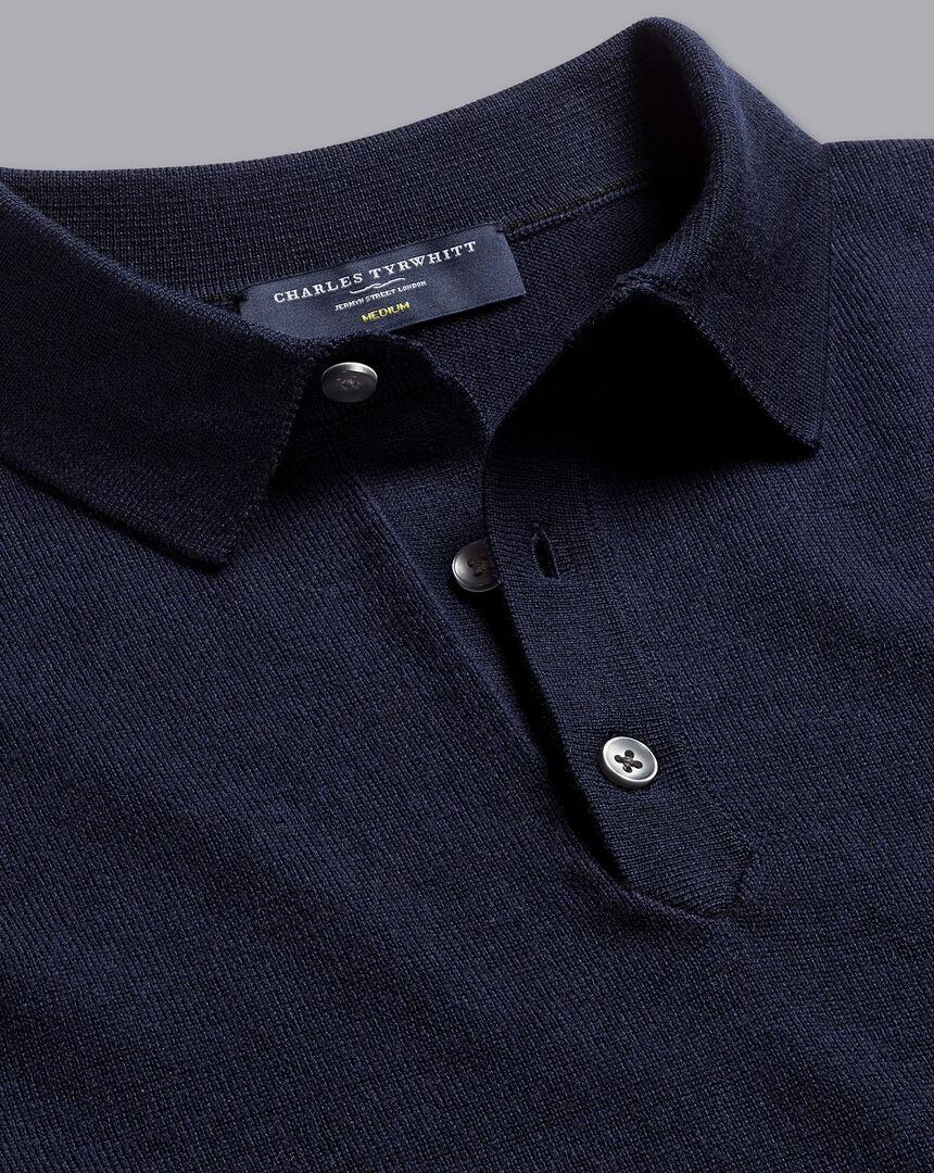 Merino Short Sleeve Polo Sweater - Navy