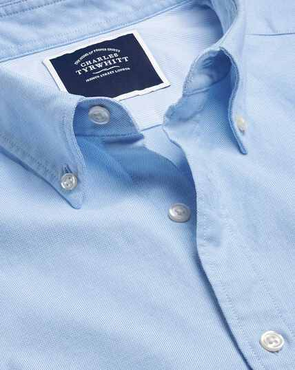 Button-Down Collar Washed Oxford Shirt - Sky
