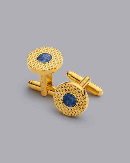 Manschettenknöpfe mit Sodalith - Gold