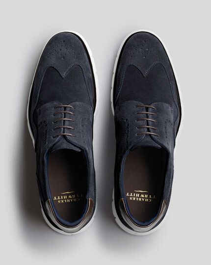 Suede Hybrid Trainers - Navy