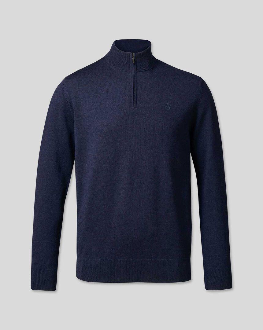 England Rugby Merino Zip Neck Sweater - Navy