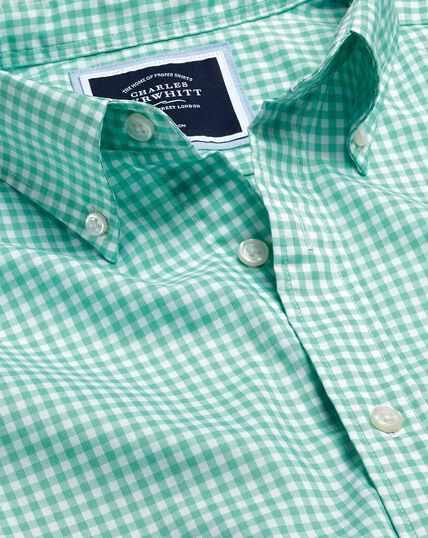 Button-Down Collar Non-Iron Stretch Poplin Gingham Short Sleeve Shirt - Light Green