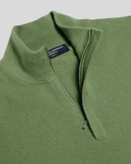Merino Cashmere Zip Neck Sweater - Olive