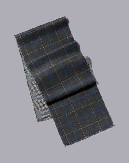Merino Double Faced Prince of Wales Check Scarf - Grey