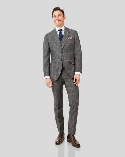 British Luxury Check Suit - Grey & Tan