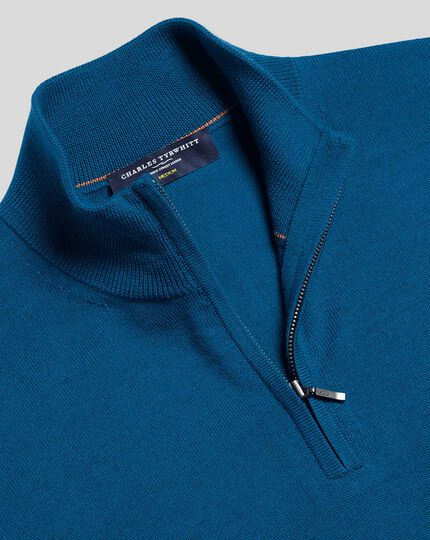 Merino Zip Neck Jumper - Petrol Blue