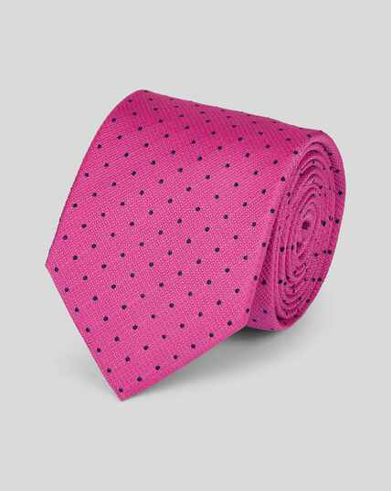 Stain Resistant Silk Textured Spot Tie - Bright Pink