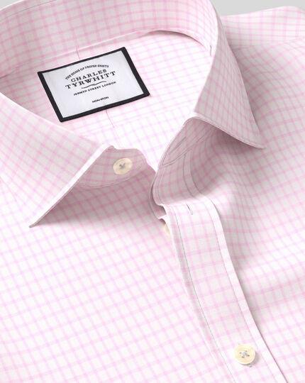 Cutaway Collar Non-Iron Cotton with TENCEL™ x REFIBRA™ Check Shirt - Pink