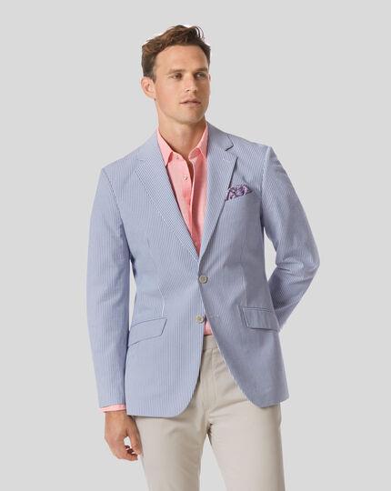 Striped Cotton Seersucker Jacket - Blue