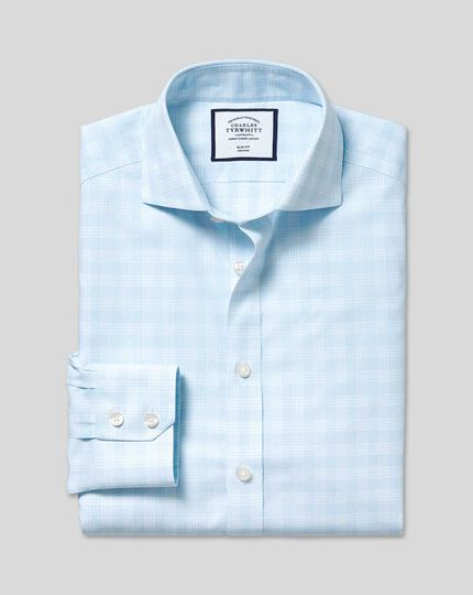 Spread Collar Non-Iron Prince Of Wales Check Shirt - Sky