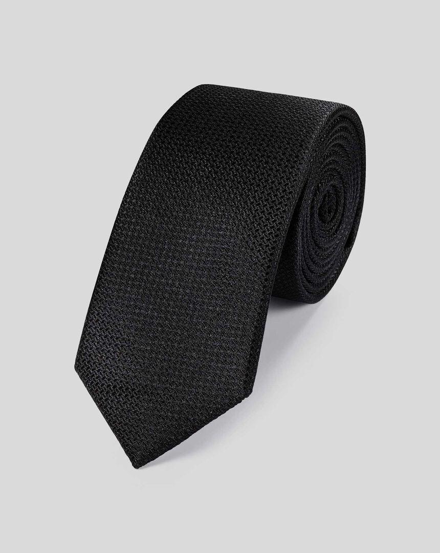 Slim Silk Textured Tie - Black