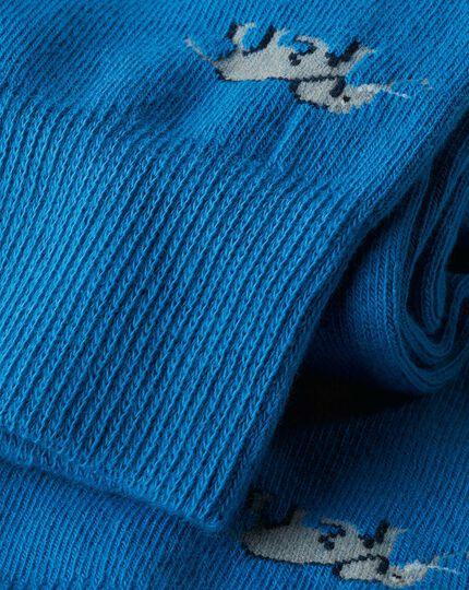 Elephant Motif Socks - Blue