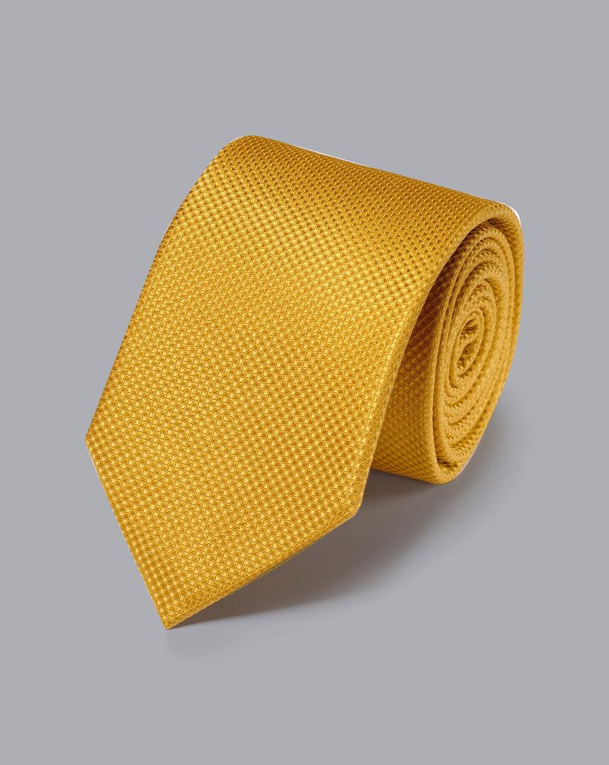 Stain Resistant Silk Textured Tie - Gold