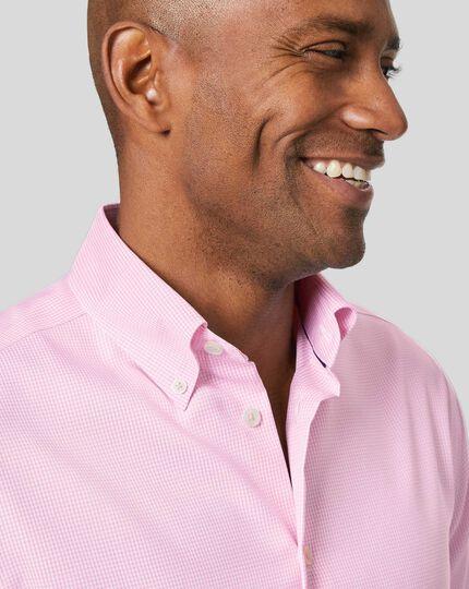 Button-Down Collar Non-Iron Check Shirt - Pink