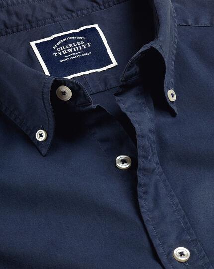 Garment-Dyed Fine Twill Shirt - Navy