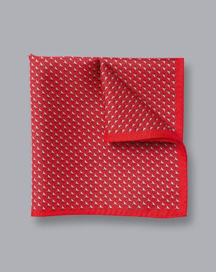 Lapwing Print Pocket Square - Red & White