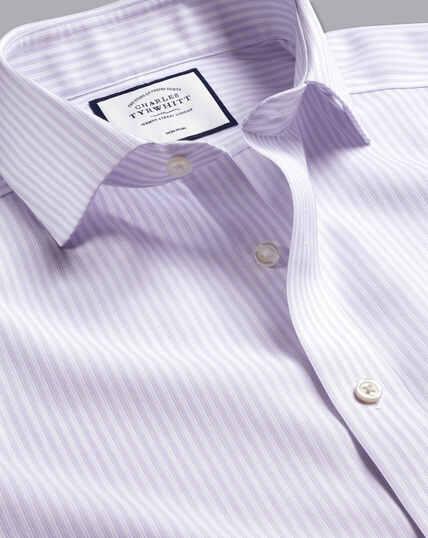 Spread Collar Non-Iron Cotton Stretch Stripe Shirt - Lilac