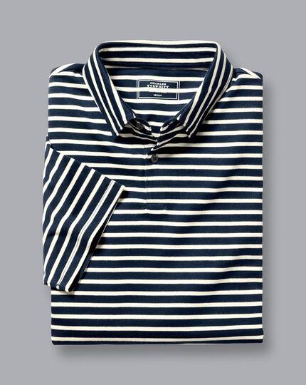 Smartes Jersey-Polo mit Streifen - Marineblau & Ecru