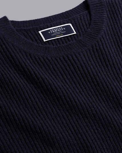 Schwerer Pullover aus Merinowolle mit Rundhalsausschnitt - Marineblau