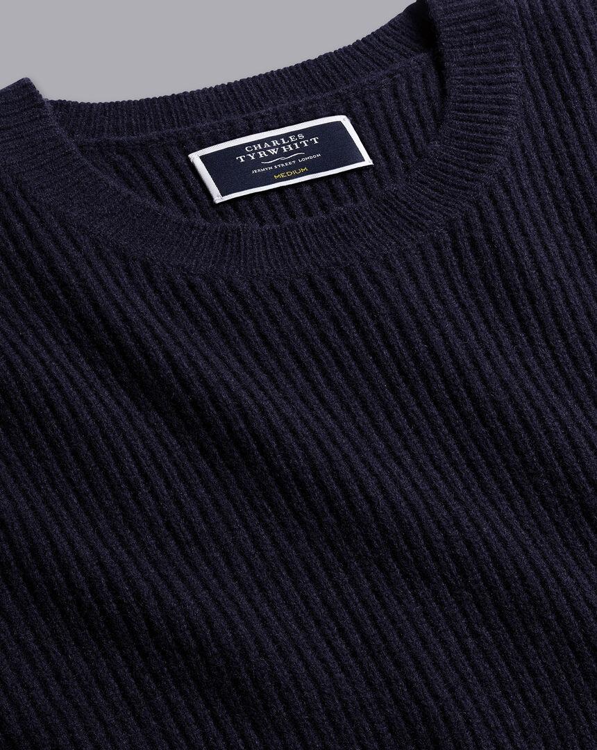 Merino Crew Neck Chunky Sweater - Navy