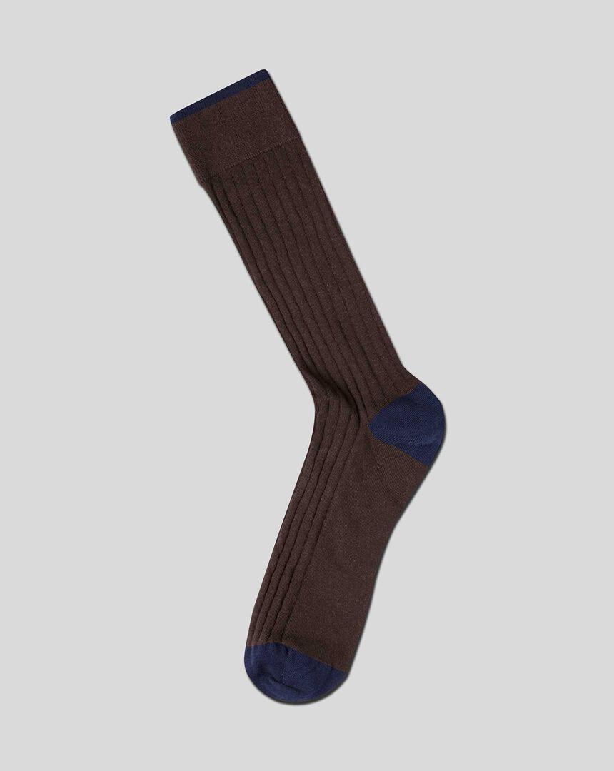 Cotton Rib Socks - Brown