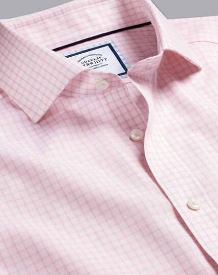Cutaway Collar Non-Iron Regent Weave Check Shirt - Pink