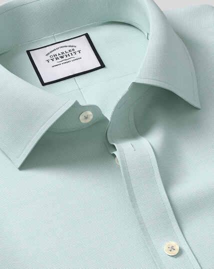 Hemd aus ägyptischer Baumwolle mit Gittermuster und Kent-Kragen - Aquamarin