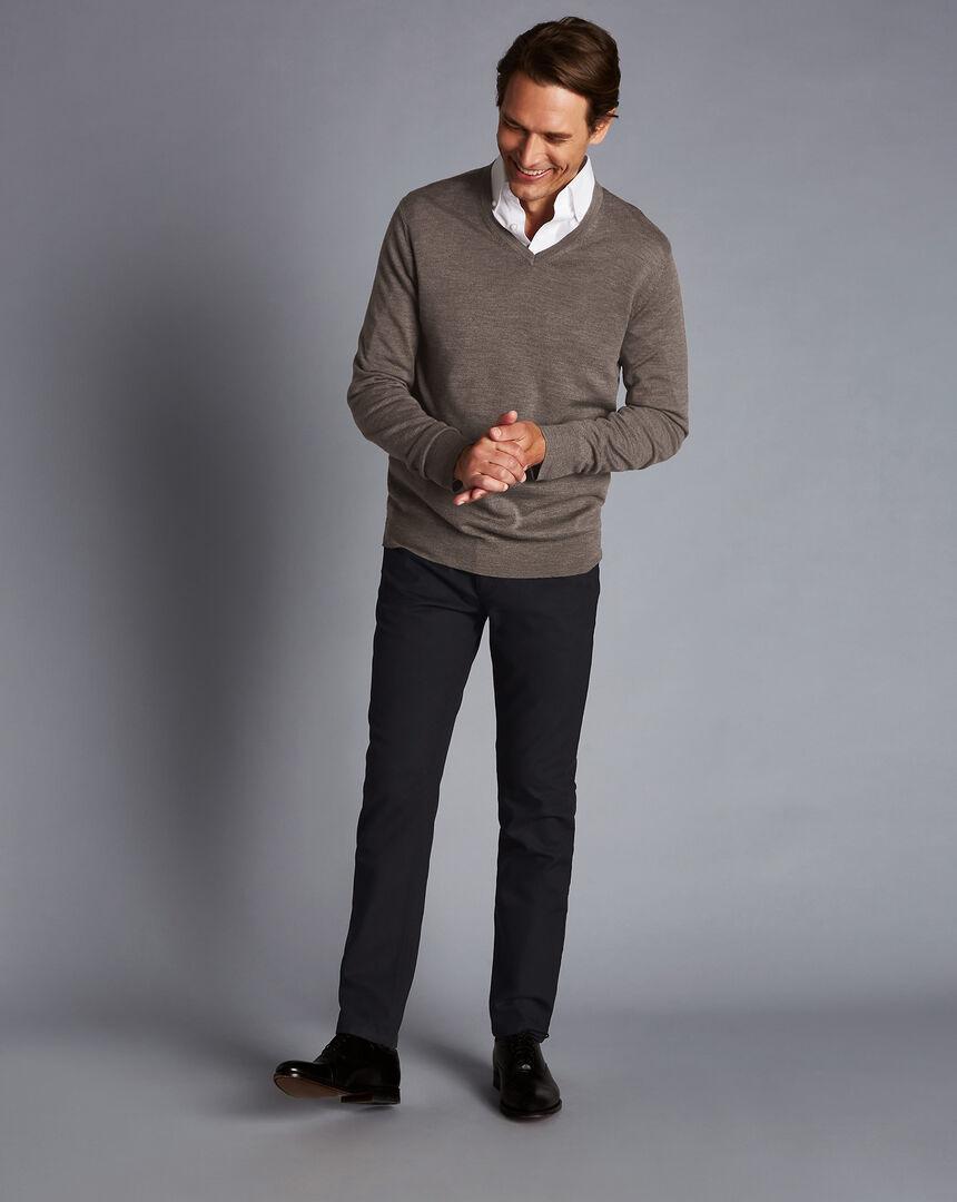 Diamond Dobby 5-Pocket Trousers - Charcoal