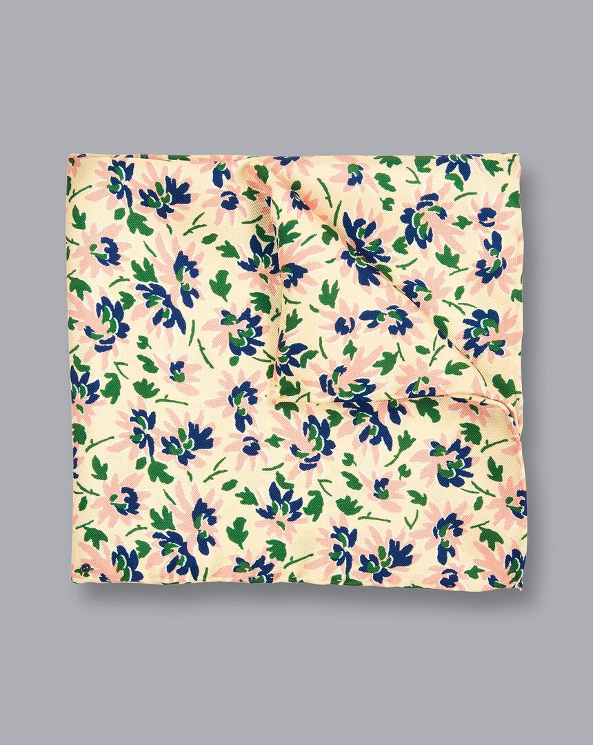 Floral Print Pocket Square - Light Yellow
