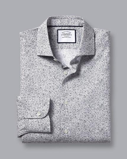 Made with Liberty Fabric Semi-Spread Collar Shirt - Dark Purple