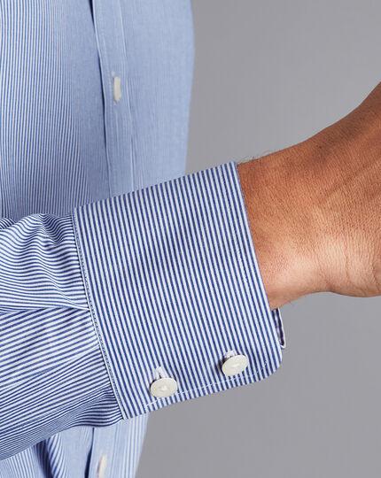 Semi-Spread Collar Egyptian Cotton Twill Bengal Stripe Shirt - Royal Blue