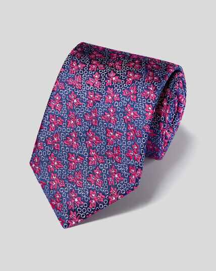 Silk Floral English Luxury Tie - Pink