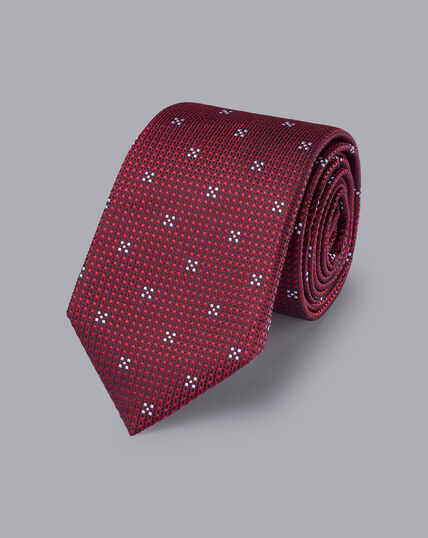 Silk Textured Floral Tie - Burgundy & Sky