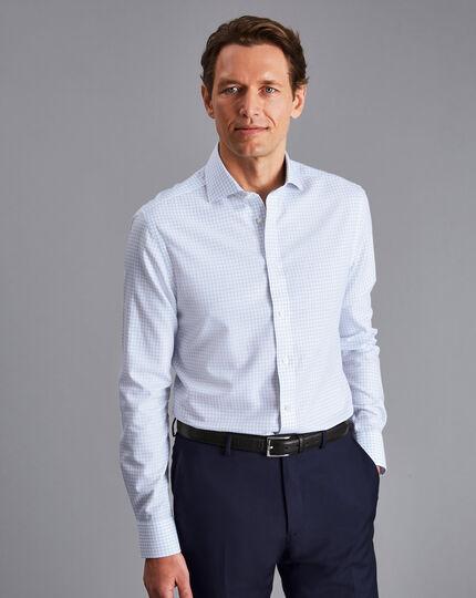 Cutaway Collar Non-Iron Regent Weave Check Shirt - Sky