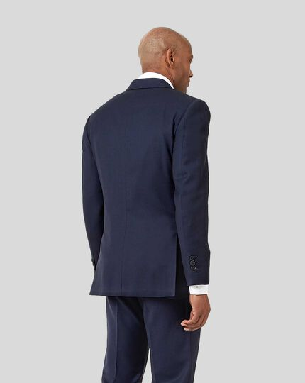 Birdseye Travel Suit Jacket - Ink Blue