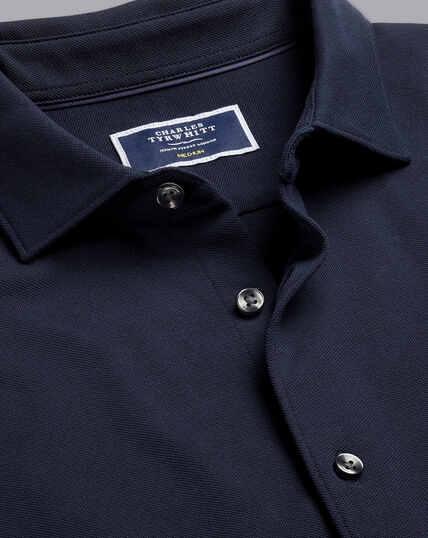 Piqué-Hemd aus Jersey - Marineblau