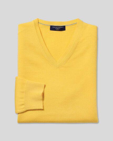 Merino V-Neck Jumper - Yellow