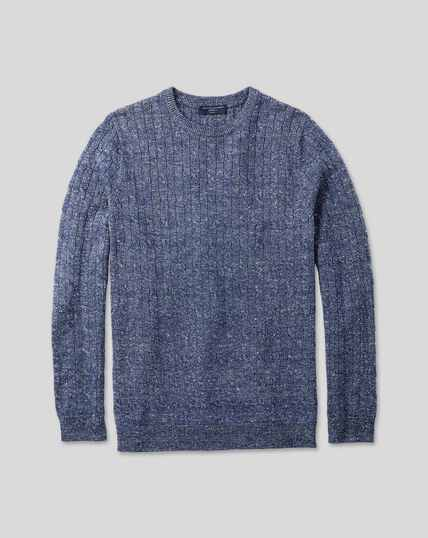 Merino Linen Cable Knit Crew Neck Sweater - Blue
