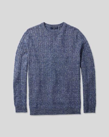 Merino Linen Cable Knit Crew Neck Jumper - Blue