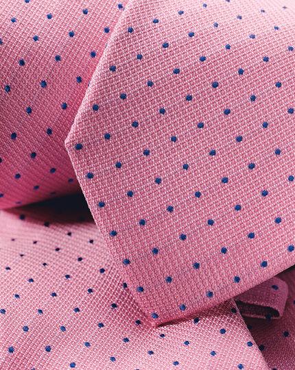 Schmutzabweisende Krawatte aus Seide mit Strukturgewebe und Punkten - Rosa & Blau