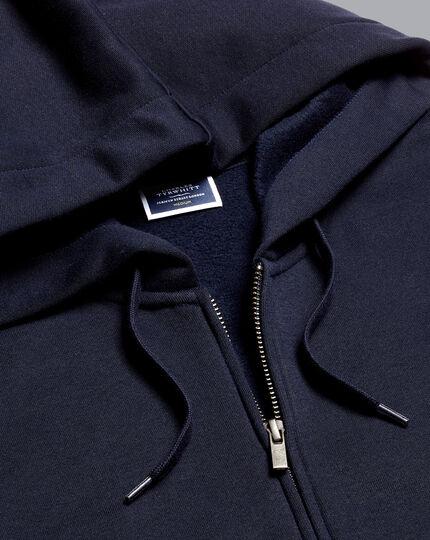 Jersey Zip Through Hoodie - Navy