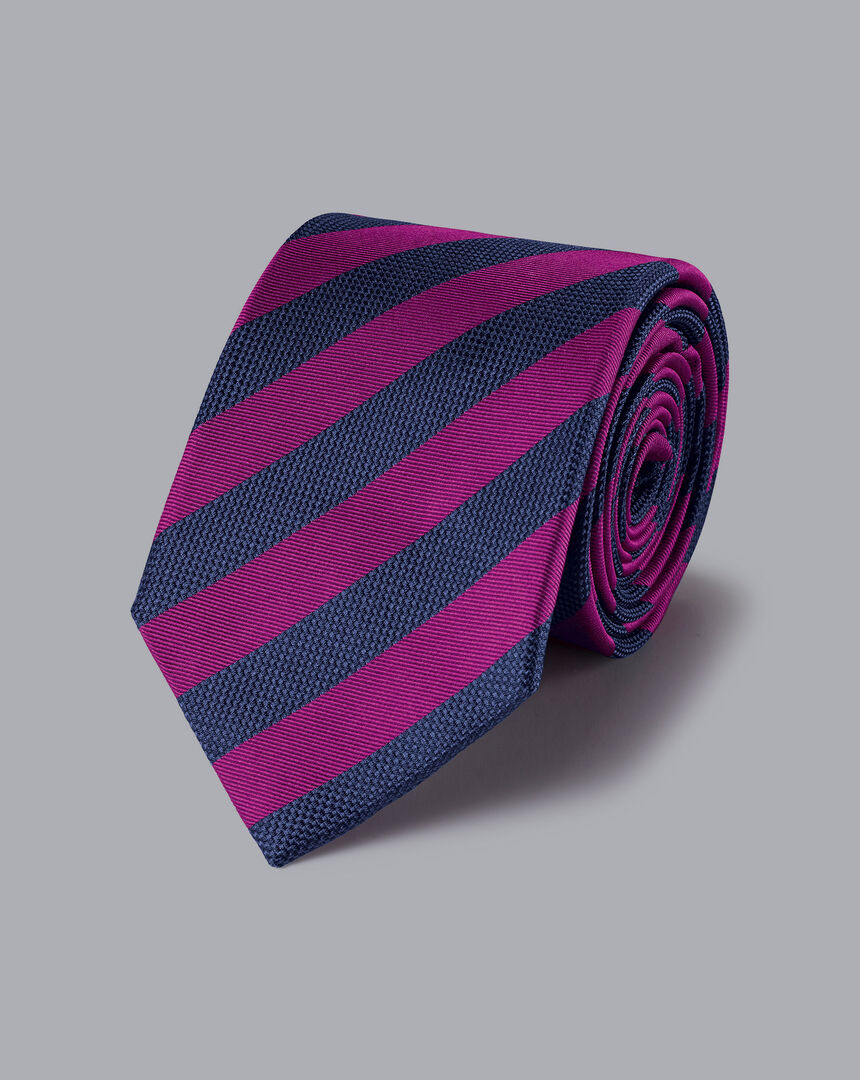 Silk Stripe Classic Tie - Berry & Navy
