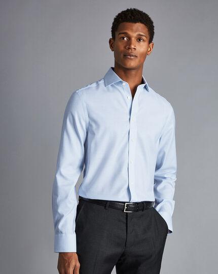 Spread Collar Non-Iron Cotton Stretch Check Shirt - Sky